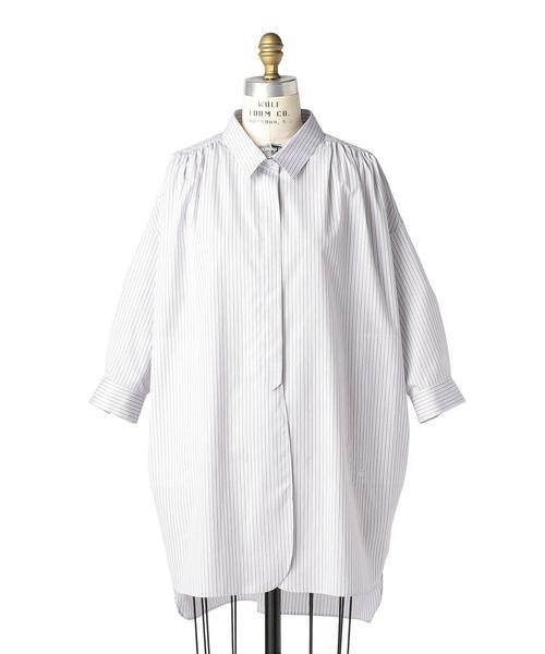 Drawer コットンストライプスリットシャツ