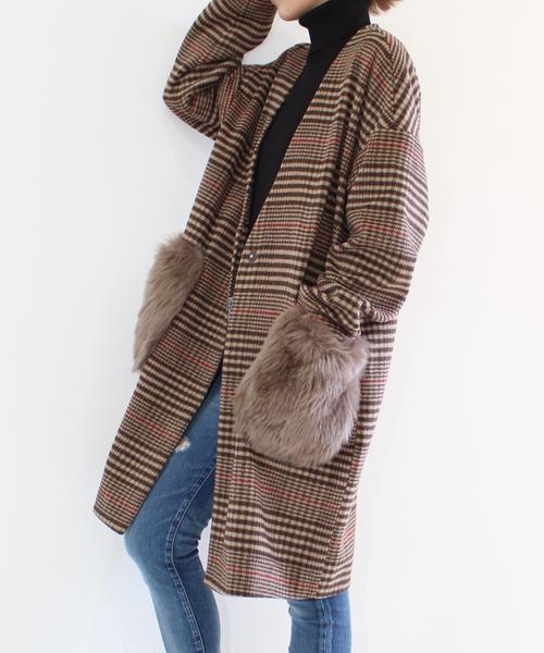 【chuclla】【2019AW】グレンチェック ポケットファー ノーカラー  コート chw628