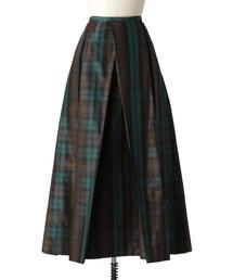 Drawer タータンチェックシルクロングスカート
