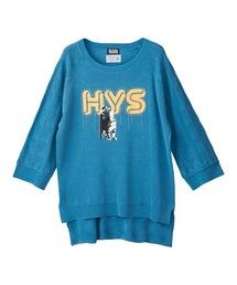HYS CATチェーン刺繍 プルオーバーブルー