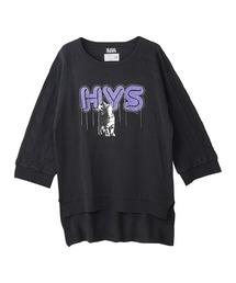HYS CATチェーン刺繍 プルオーバーブラック