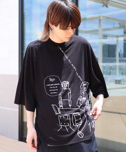 AFYF(エーエフワイエフ)の「AFYF2020 RAYON PUPRINT BIG TEE/オーバーサイズ レーヨンプリント ビッグTシャツ(Tシャツ/カットソー)」 ブラック系その他3