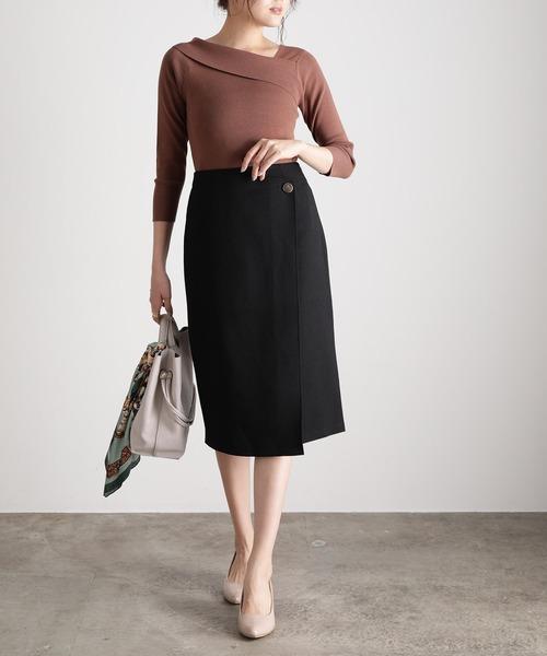 ViS(ビス)の「【低身長/高身長向けサイズ対応】【EASY CARE】アシメラップIラインスカート(スカート)」|ブラック