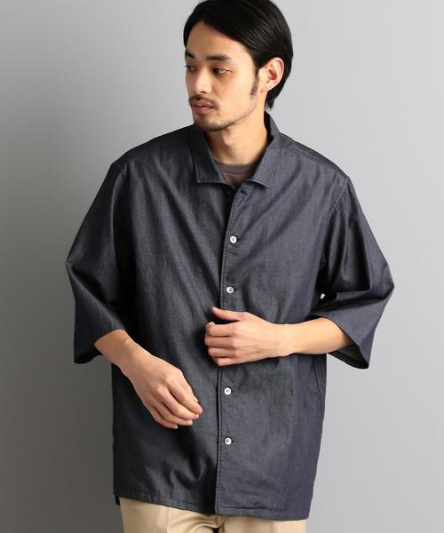 MC デニム シャンブレー オープンカラー シャツ H/SL