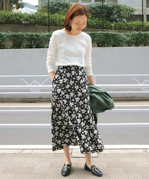 SLOBE IENA(スローブイエナ)の「フラワーマーメイドスカート×2WAYカットソーセットアップ◆(スカート)」|ブラック