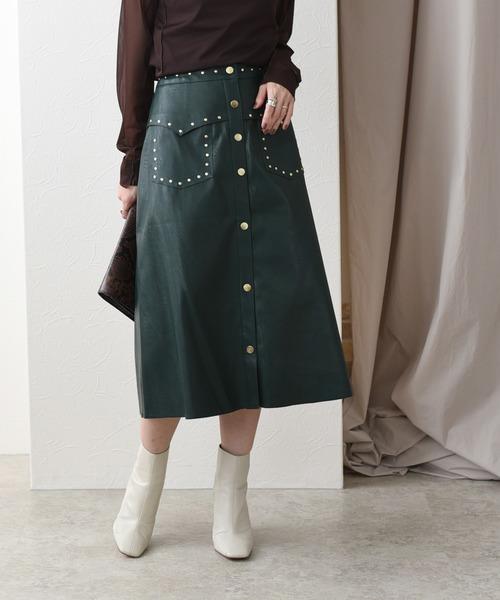 エコレザーウエスタンリベットスカート