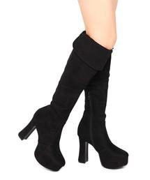 Mafmof(マフモフ)のMafmof(マフモフ) フレアヒールのニーハイロングブーツ(ブーツ)