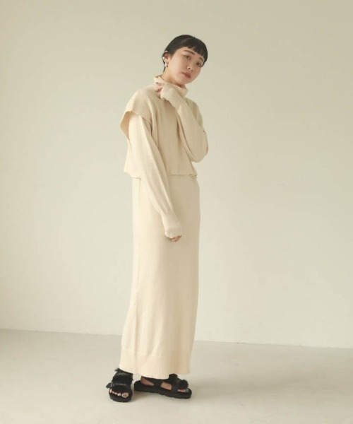 TODAYFUL(トゥデイフル)の「レイヤードニットドレス(ワンピース)」|アイボリー
