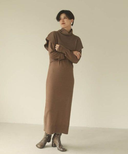 TODAYFUL(トゥデイフル)の「レイヤードニットドレス(ワンピース)」|モカ