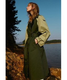 【Fano Studios】【2021SS】Bicolor oversized belted trench coat cb-3 FC21W058カーキ