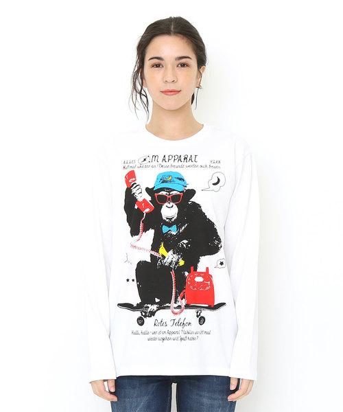 ロングスリーブTシャツ/テレフォンコールチンパンジー