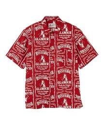 WHISKY柄 スタンダードカラーシャツレッド