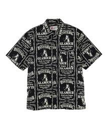 WHISKY柄 スタンダードカラーシャツブラック