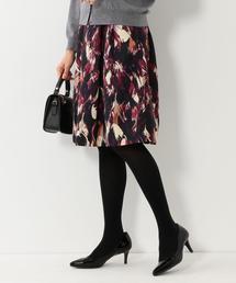 <closet story>ブラッシュプリント フレアスカート