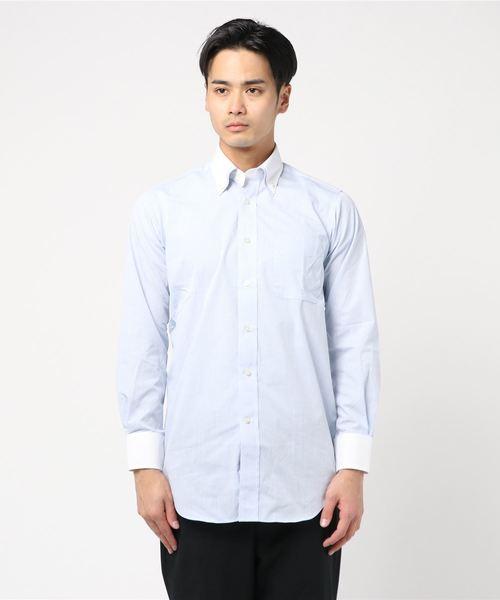 タカキューメンズ/TAKA-Q:MEN 形態安定無地柄2枚衿ドゥエボタンダウンビジネスドレス長袖シャツ(サックスブルー)