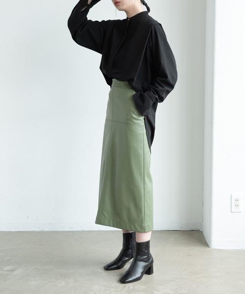 Aunt Marie's(アントマリーズ)の「エコレザータイトスカート/AUNT MARIE'S(スカート)」|グリーン
