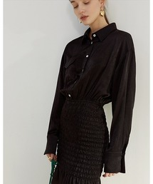 【Fano Studios】【2021SS】Tight skirt shirt dress FC21L037ブラック