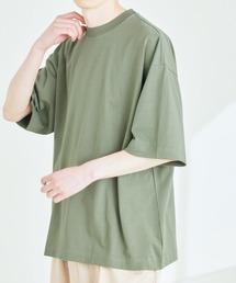 シルケットライク コーマ綿糸度詰め天竺 オーバーサイズ S/S カットソー 無地T トップス Tシャツ  -2021SUMMER-グリーン系その他