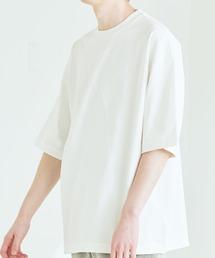 シルケットライク コーマ綿糸度詰め天竺 オーバーサイズ S/S カットソー 無地T トップス Tシャツ  -2021SUMMER-ホワイト
