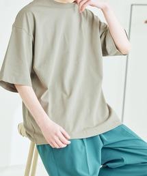 シルケットライク コーマ綿糸度詰め天竺 オーバーサイズ S/S カットソー 無地T トップス Tシャツ  -2021SUMMER-グレイッシュベージュ