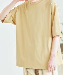 シルケットライク コーマ綿糸度詰め天竺 オーバーサイズ S/S カットソー 無地T トップス Tシャツ  -2021SUMMER-イエロー