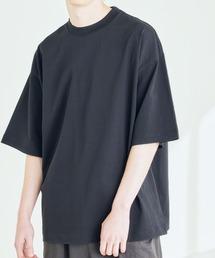 シルケットライク コーマ綿糸度詰め天竺 オーバーサイズ S/S カットソー 無地T トップス Tシャツ  -2021SUMMER-ブラック