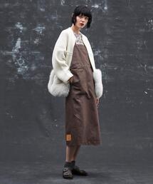 <Drawer(ドゥロワー)> ブラウンデニムジャンパースカート