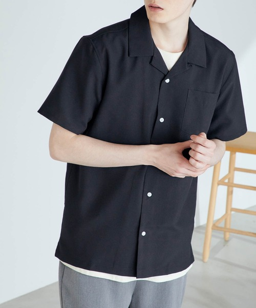 ポリトロリラックスオープンカラーシャツ