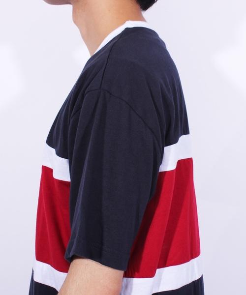 ボーダー 切替 半袖Tシャツ アメカジ