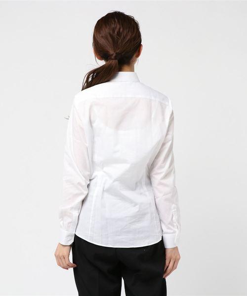 タカキューレディース/TAKA-Q:Women 形態安定ブロード白無地ワイドカラー長袖ブラウス