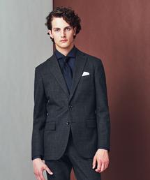 エムエフエディトリアルメンズ/m.f.editorial:MEN mf×ATSURO TAYAMA ソンドリオ/SONDRIO セットアップグレンチェックネイビー 2釦テーラードビジネスジャケット (セットアップパンツございます)(スーツジャケット)