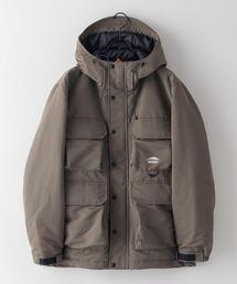難燃加工ボックスジャケット 撥水加工  発熱中綿 着るBAGシリーズ ポケット10個 収納力抜群 ハーネス仕様  体温調節を容易にできる仕様オリーブ