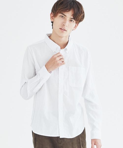 長袖ブロードチェックシャツ