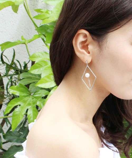 ダイヤフレームパール イヤリング 結婚式 パーティー パーティ 二次会 アクセ アクセサリー