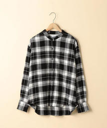 【2WAY】ウィンターコットンバンドカラーチェックシャツ