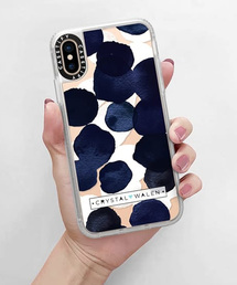GLOBAL FORME CONCRETE(グローバルフォルムコンクリート)の【Casetify】Indigo White Dots Clear Grip Case iPhone XS(モバイルケース/カバー)