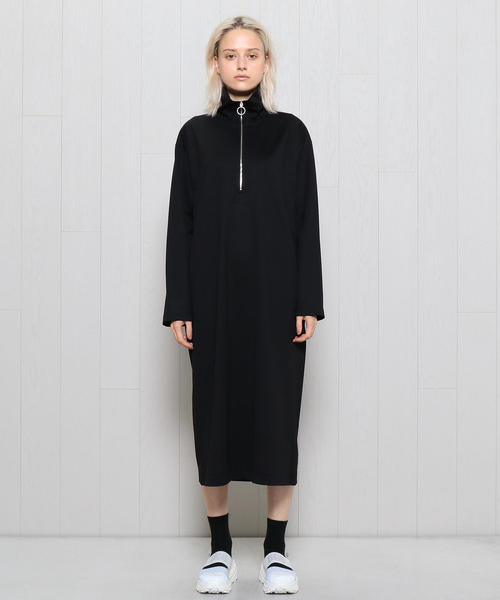 <H>HIGH NECK ZIP UP ONE PIECE/ワンピース