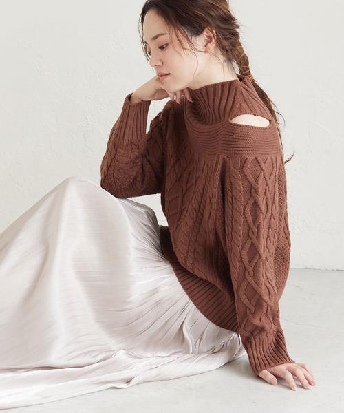 ViS(ビス)の「【新色追加】ケーブル編みレイヤード風アシメプルオーバー(ニット/セーター)」|ダークブラウン