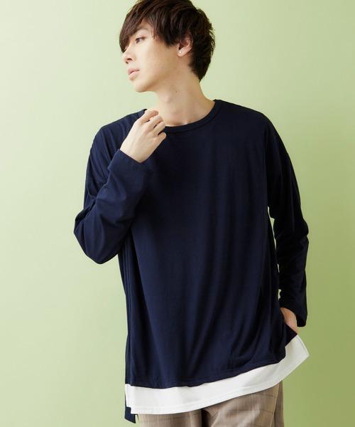 ワイドシルエット裾フェイクレイヤードヘムラインロング丈カットソー(MONO-MART)
