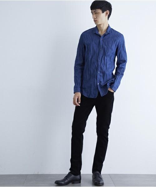 【wjk black】≪STUDIOUS限定≫デニムワッシャースタンドシャツ