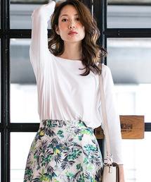 LAUTREAMONT(ロートレ・アモン)のBRUGNORI社の素材を使用したシンプルカットソー(Tシャツ/カットソー)