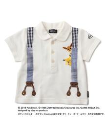 【ポケモン】ピカチュウ&イーブイ サスペンダー風ポロシャツ(ポロシャツ)