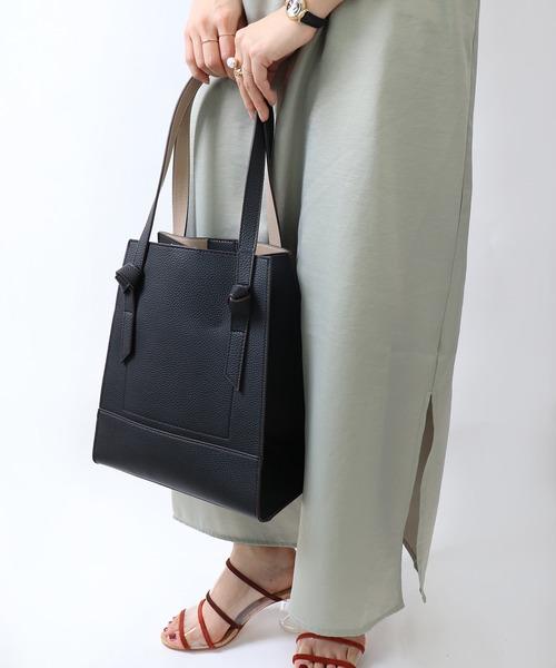 リボンハンドル サイドファスナー シンプル大きめ ハンドバッグ