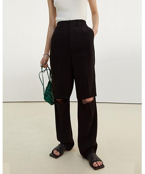 【Fano Studios】【2021SS】Cutting damaged high waist slacks FC21K029