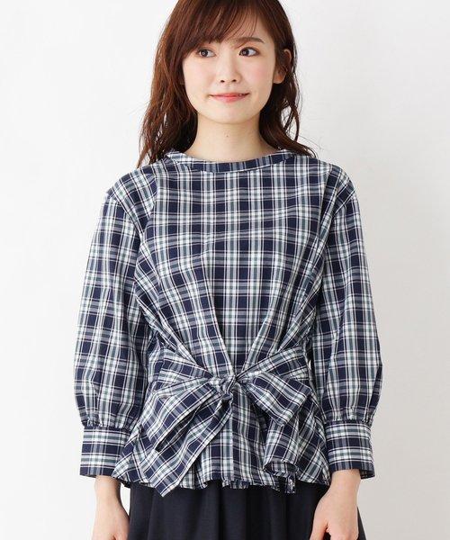 Jeunne garcon 結びリボンぺプラムシャツ