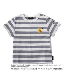【ポケモン】ピカチュウデザイン刺しゅうボーダーTシャツ(Tシャツ/カットソー)