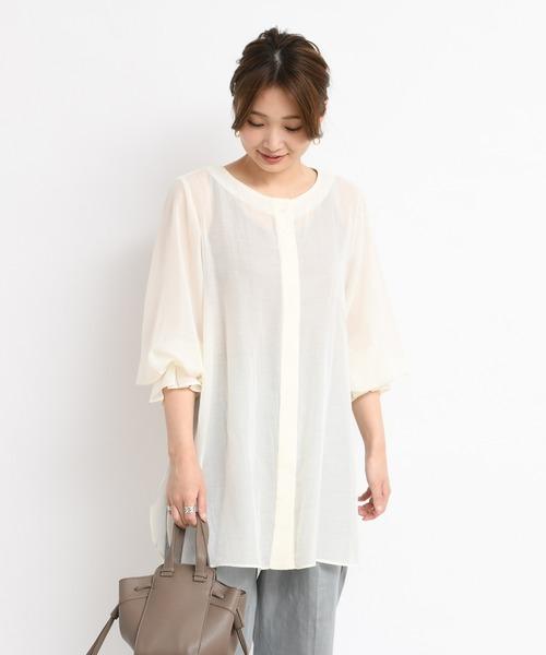 DouDou(ドゥドゥ)の「サイドスリットシアーシャツ(シャツ/ブラウス)」|ホワイト