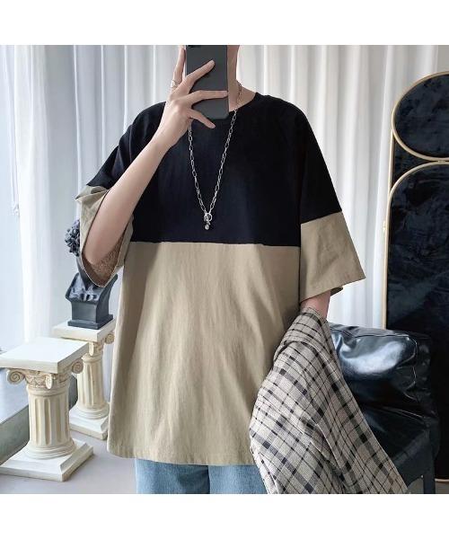 切り替えラグラン Tシャツ ビッグシルエット オーバーサイズ ベースボールTシャツ