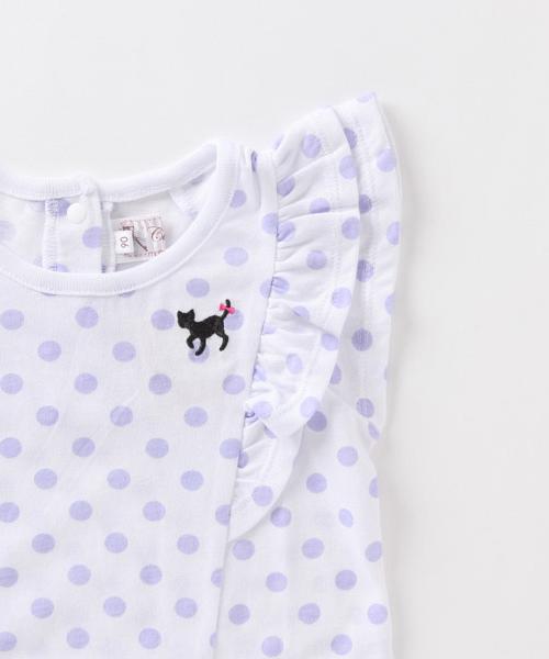 『Tシャツ&キュロットセット』トドラーガールズ 水玉柄 フリル袖Tシャツ&キュロットセット
