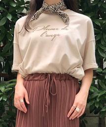 PairPair(ペアペア)のダルメシアン柄スカーフ付きロゴTシャツ(Tシャツ/カットソー)